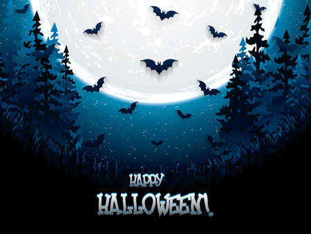 Halloween night background with full moon and bats, vector illustration.