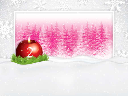 Second sunday in advent concept background.Beautiful holiday design with red candle on snowy background, vector illustration