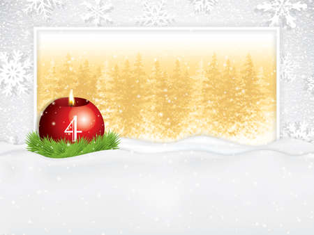 Fourth sunday in advent concept.Beautiful holiday design with red candle on snowy background, vector illustration Çizim