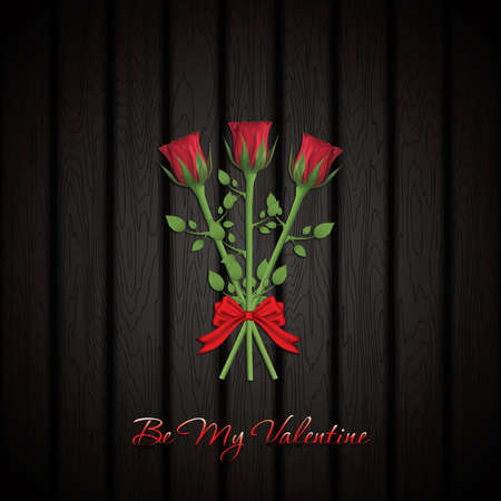 Valentines day greeting card with a realistic red rose bouquet, vector illustration Illustration