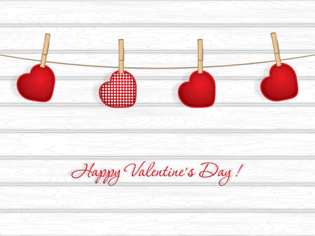 Valentine`s day background with sewed pillow hearts on rope with wooden clothespins, vector illustration Illustration