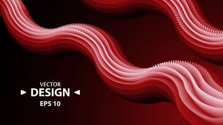 Red abstract 3d shape. Modern geometric gradient backdrop.