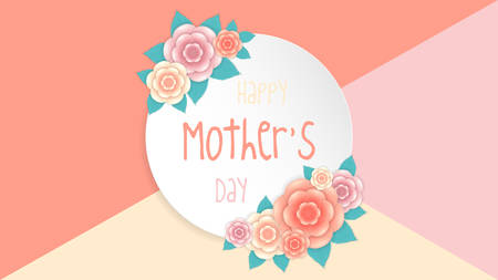 Happy Mothers day background with beautiful flowers, holiday greeting card, vector illustration Illustration