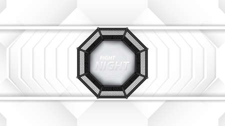 Vector illustration of MMA cage. Mixed martial arts octagon cage, top view Ilustração