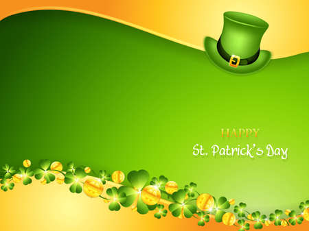St. Patrick Day background with leprechaun hat and golden coins.Greeting card vector illustration