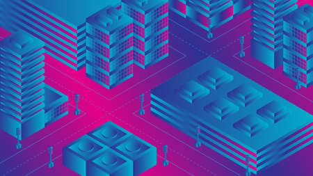 Vector illustration of isometric city in ultraviolet colors with modern buildings Stock Illustratie