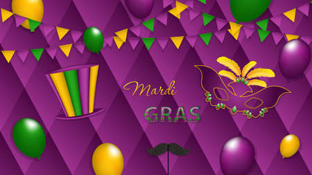 Mardi Gras background with carnival mask and party hat, vector illustration Vectores