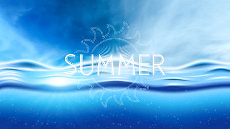 Ocean underwater scene with sunbeam through clear water on blue sky with clouds.Summer background, vector illustration