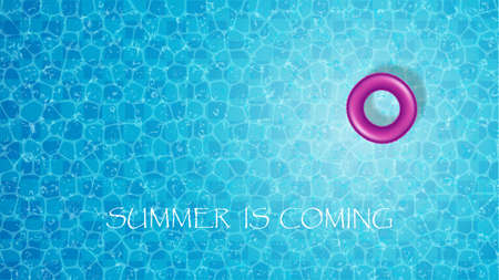 Vector illustration of swimming pool top view with purple float ring.Summer is coming concept background