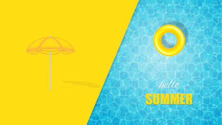 Vector illustration of swimming pool design with float ring and beach umbrella.Summer concept design