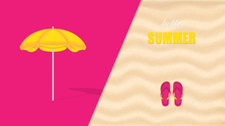 Vector illustration of beach umbrella, minimal summer concept background Illustration