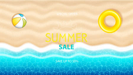 Summer sale poster.Seaside beach with beach ball, inflatable swimming ring on the sand