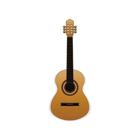 Classical wooden guitar, vector illustration