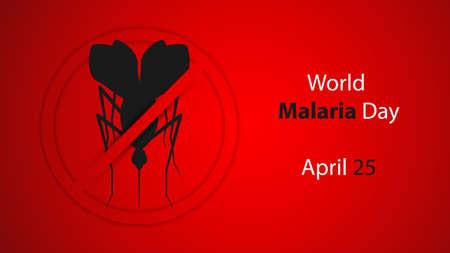 World malaria day poster, vector illustration