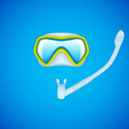 Dive mask and snorkel for kids, vector illustration