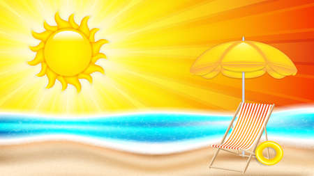 Summer holiday in seashore.Summer concept poster with beach chair and parasol