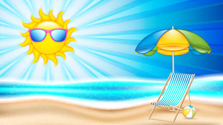 Summer holiday in seashore.Summer concept poster with beach chair and parasol, vector illustration Ilustração