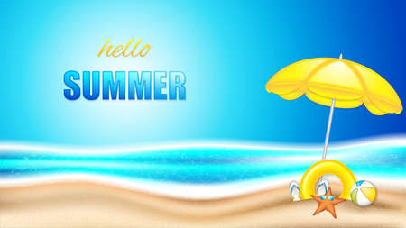 Summer holiday in seashore.Summer concept poster with beach ball, sunglasses, starfish and parasol