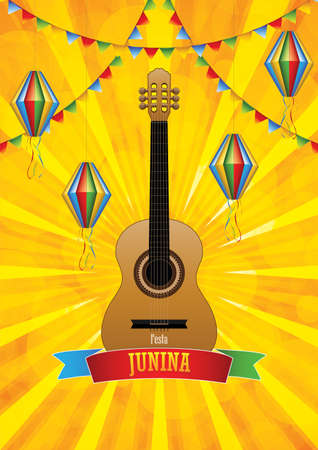 Festa Junina poster with paper lanterns and  paper garlands on yellow Illustration