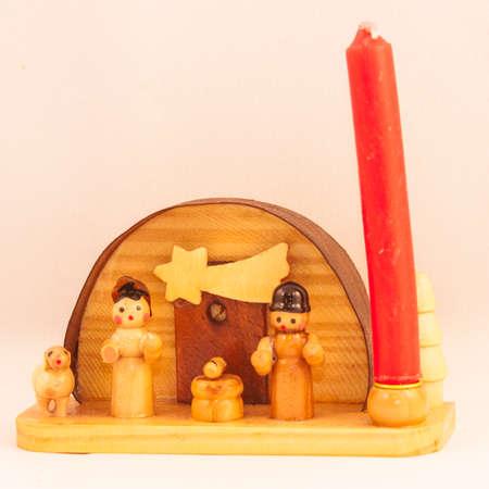 catholic wedding: Red candle crib Stock Photo