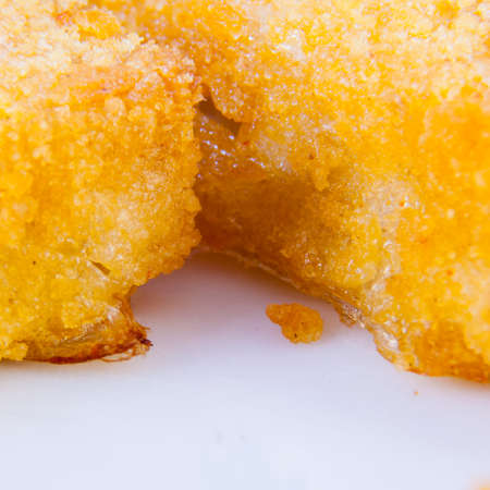 breading: crunchy breading. Particular of food  fried and crispy