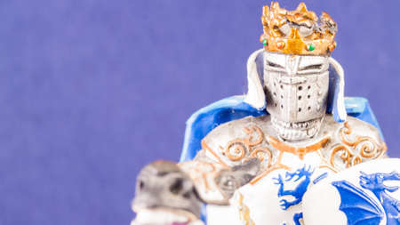 pygmy: Small medieval knight. Macro image of a little toy model.