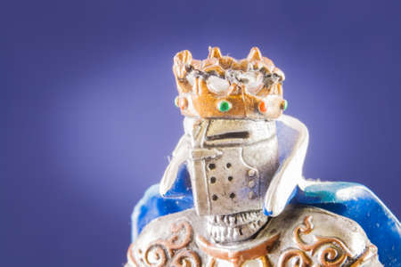 chivalrous: Small medieval knight. Macro image of a little toy model
