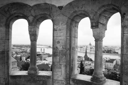 fishermen's: Bastion in the window. View of budapest from the fishermens bastion