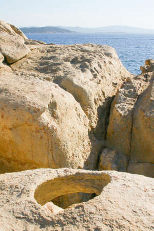 especially: Especially Sardinian granite in the form of hole Stock Photo