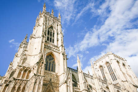 minster: York Minster with blue sky and clouds