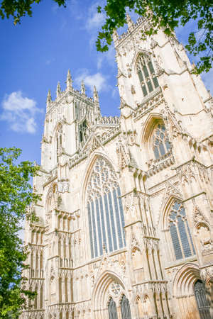 york minster: York Minster with blue sky and clouds
