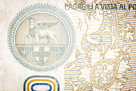 winged lion: Winged lion Venetian Republic. Into an old Italian bill Stock Photo