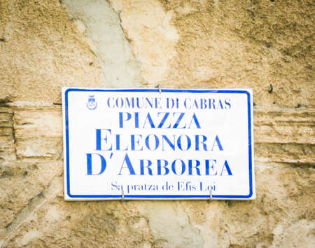 bilingual place names in Sardinia, Italy . Stock Photo