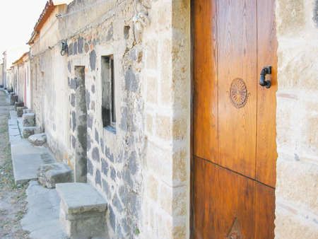 portal: Portal with wood carvings in Sardinia, Italy.