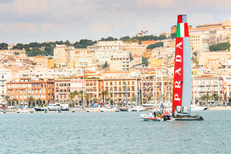 prada: Cagliari, Italy, March 8 2015: Luna Rossa Prada team is training for American s Cup in the Gulf of Cagliari