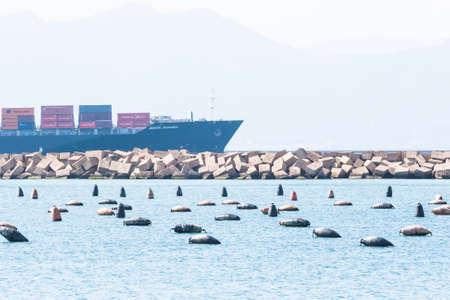 enters: Cagliari - Italy - 8 March 2015: Santa Ricarda Container Ship enters the port channel of Cagliari