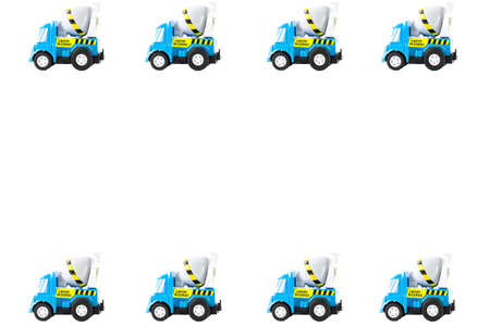 Frame of Toy cars. Concrete mixer Toys Truck photo