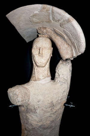 monti: prehistoric statue. Particular of a Giant of Monti Prama -  statues dated around 1000 B.C. Cabras, Sardinia, Italy.