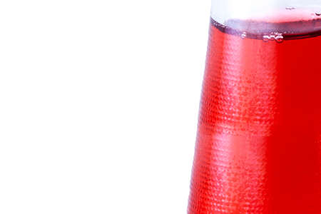 bootle: Red drink in the bootle. Wuth white background