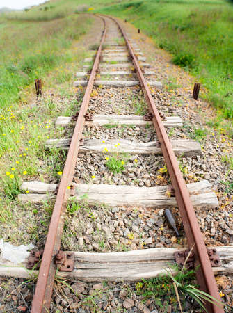 wood railroad: Old Wood Tie iron. Old railroad in the country