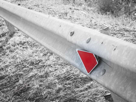 guardrail: guardrail in the country. Close up image of a guardrail