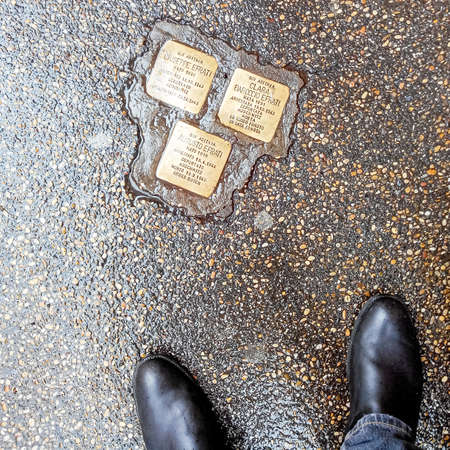 persecution: RomeItaly - February 2015: Cobblestone in Rome which commemorates the deportation of Jews