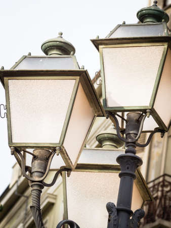 light up: light up the sky with a bulb. Particular of a street lamp