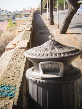 deliberately: dust bin street wall with holga lens, deliberately soft focus Stock Photo