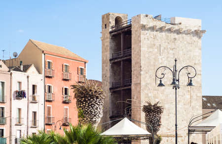 castello: tower medieval elephant. Particular of historical district of Cagliari Castello Editorial