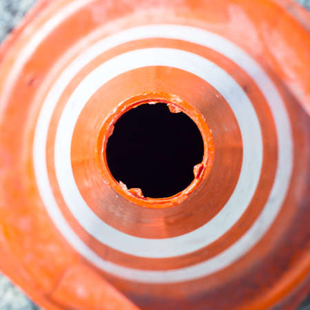 traffic cone: rubber traffic cone. image taken from above