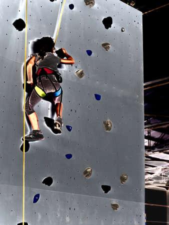 free climbing: free climbing kids. Demonstration of training of indoor free climbing