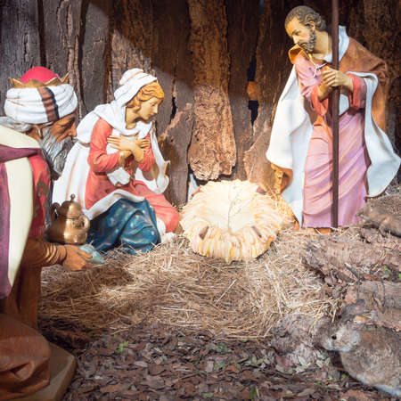 Nativity scene before christmas. Jesus Christ it is not yet born