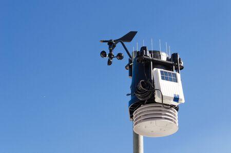 anemometer meteorology kit, wind meter with blue sky.