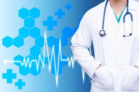 smart doctor with a stethoscope around his neck on blue color tone background with heartbeat line and hexagonal shaped pattern background, health care and medical technology concept, copy space Stock Photo